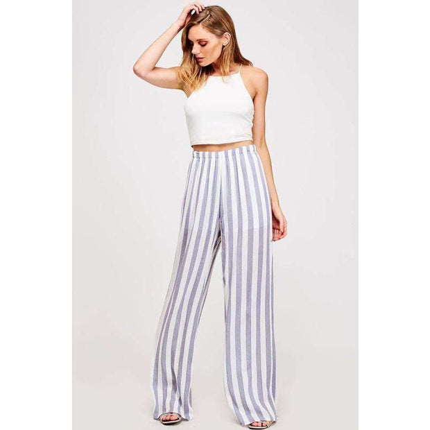 Love Her Luxe Running To You Navy Stripe Palazzo Pant - Love Her Luxe Boutique