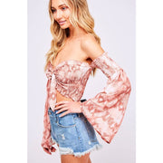 Knot For You Pink Snakeskin Bell Sleeve Crop - Love Her Luxe Boutique