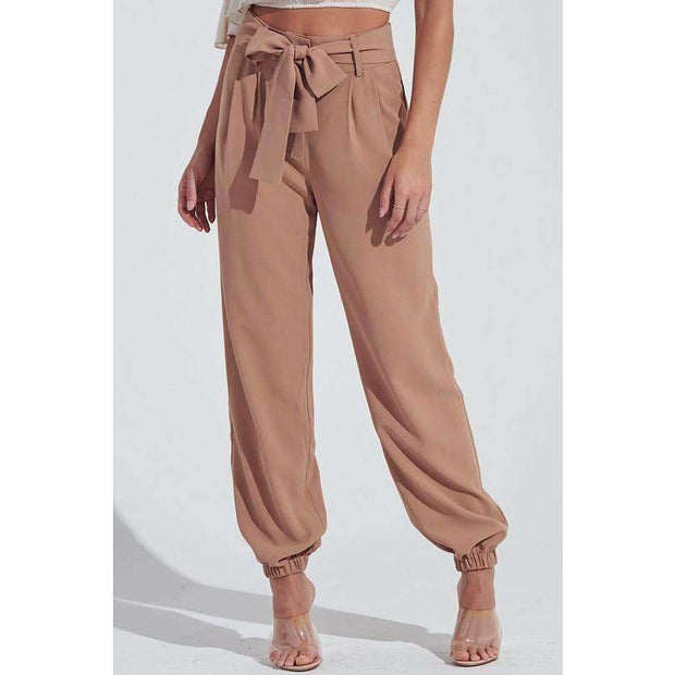Raven Tan High Waist Ankle Jogger Pants - Love Her Luxe Boutique