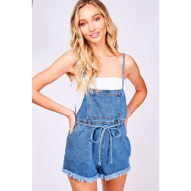 Catch Feelings Light Denim Tie Waist Overall Shorts - Love Her Luxe Boutique