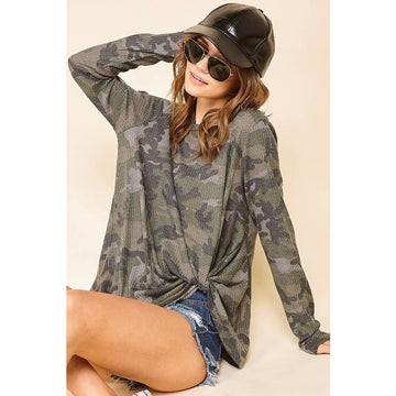 Undercover Camouflage Twisted Hem Sweater