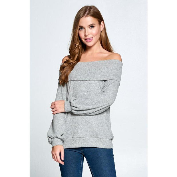 Grey Soft Off The Shoulder Knit - Love Her Luxe Boutique