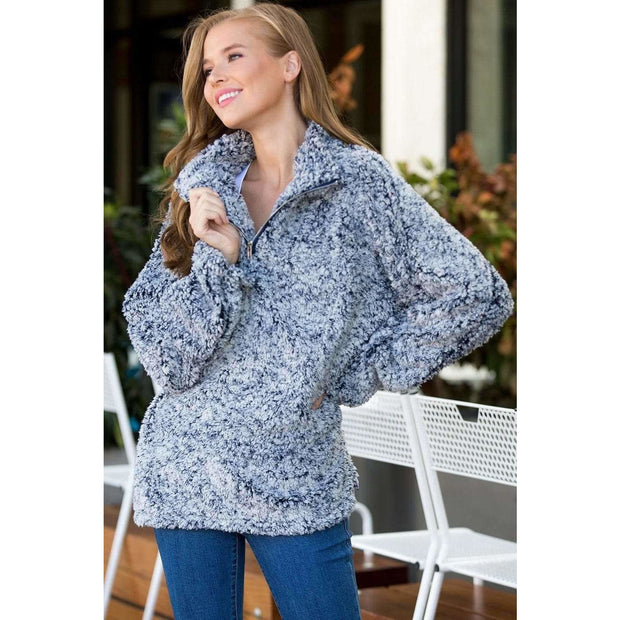 Warm Cozy Faux Fur Half Zip Pullover - Blue - Love Her Luxe Boutique
