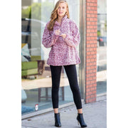 Warm Cozy Faux Fur Half Zip Pullover - Burgundy Pink - Love Her Luxe Boutique