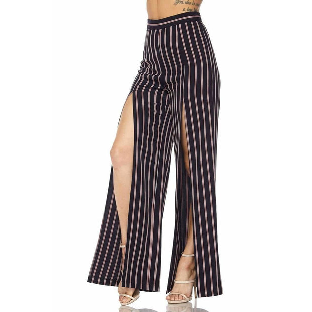 FRONT-SLIT STRIPE PANTS - Love Her Luxe Boutique