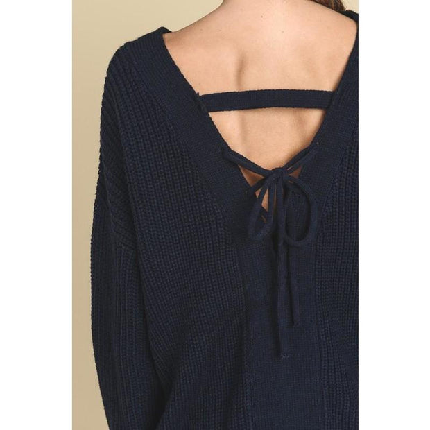 Navy Blue Oversized Sweater - Love Her Luxe Boutique