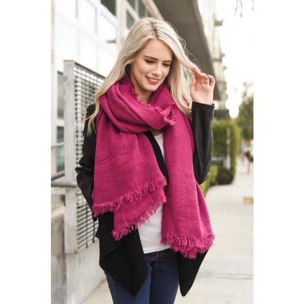 Fuchsia Blanket Scarf - Love Her Luxe Boutique