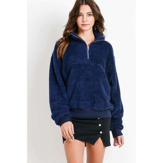 Teddy Fleece Half Zip Pullover - Navy - Love Her Luxe Boutique