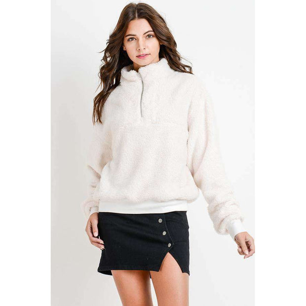 Teddy Fleece Half Zip Pullover - White - Love Her Luxe Boutique