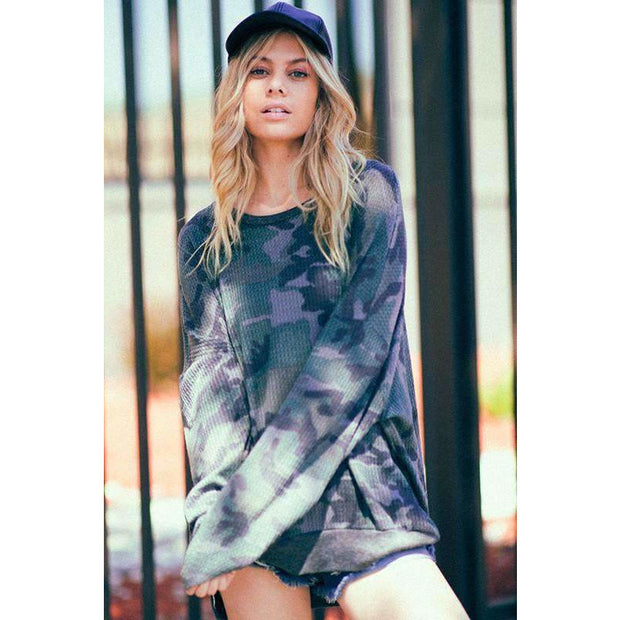 Emmy Camo Oversized Long Sleeve Thermal - Love Her Luxe Boutique