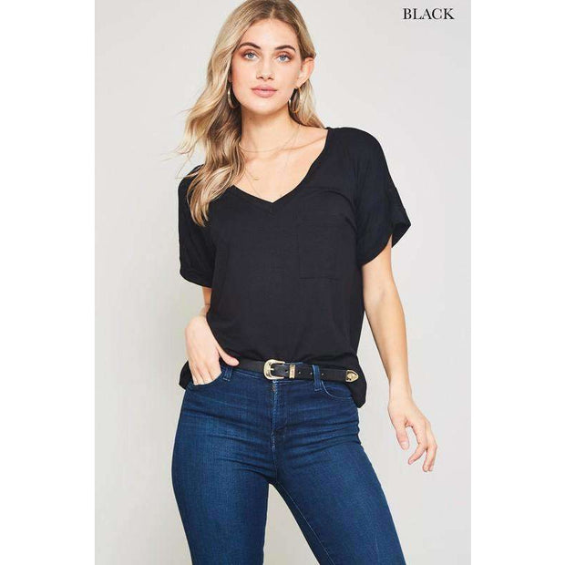 Weekender Black Slouchy Front Pocket Tee - Love Her Luxe Boutique