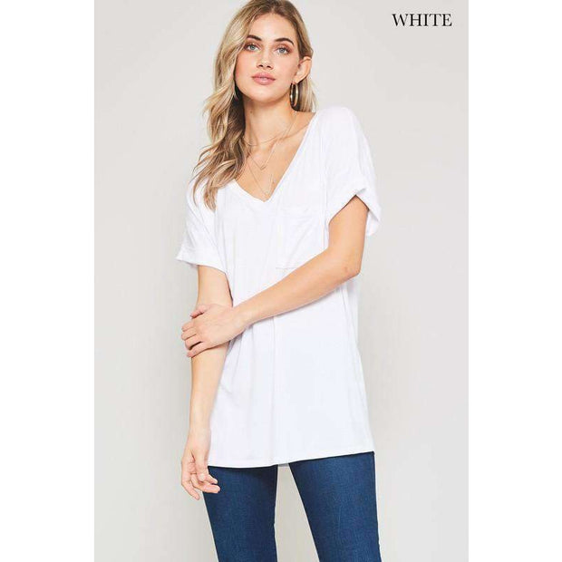Weekender White Slouchy Front Pocket Tee - Love Her Luxe Boutique
