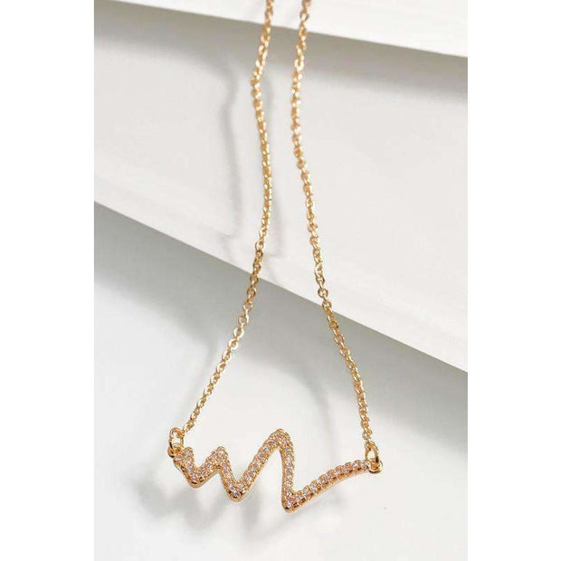 Cubic Zirconia Gold Sound Wave Pendant Necklace - Love Her Luxe Boutique
