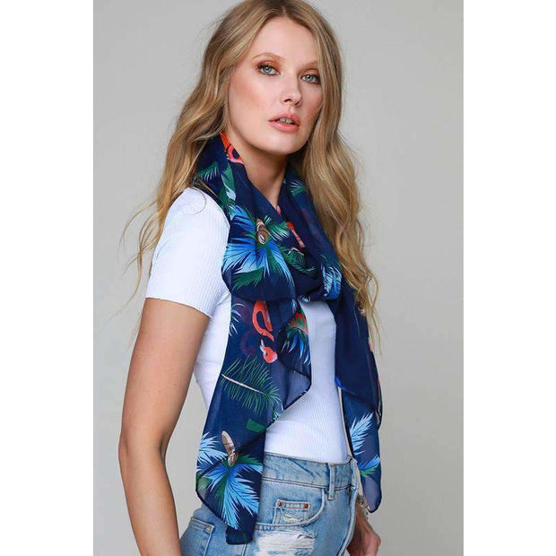 Flamingo Navy Blue Print Scarf - Love Her Luxe Boutique