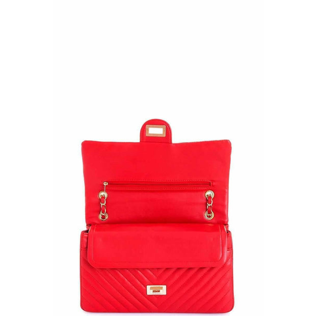 CLASSY LINKED CHAIN SATCHEL - RED - Love Her Luxe Boutique