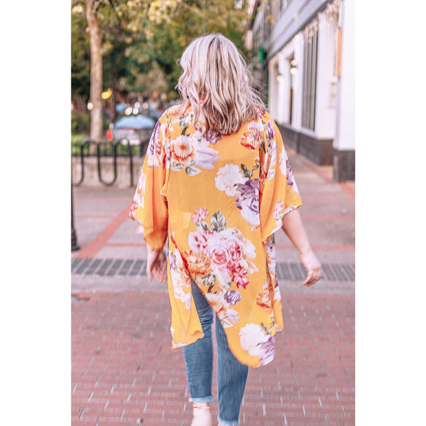 Kaylea Yellow Bright Floral Open Front Kimono - Love Her Luxe Boutique