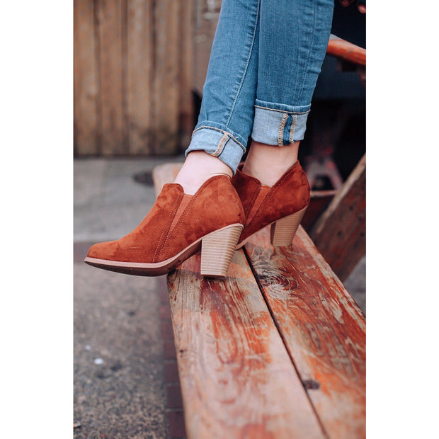Evelyn Cognac Suede Ankle Booties - Love Her Luxe Boutique