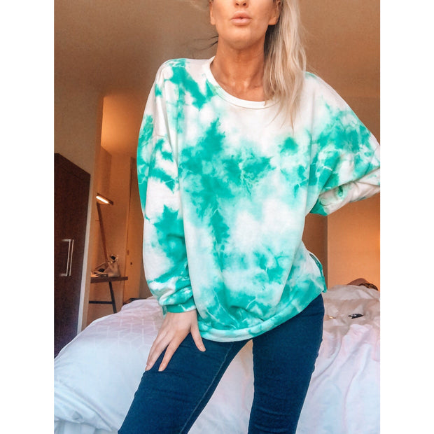 Candy Green Tie Dye Top - Love Her Luxe Boutique