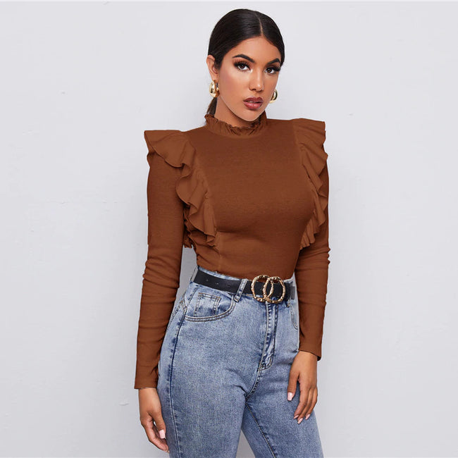 Brown Frill Neck Ruffle Trim Form Fitted Top