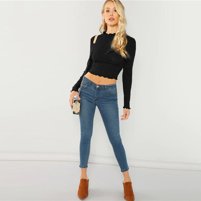 Black Lettuce Trim Crop Top