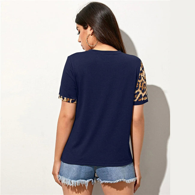 Navy Blue Leopard Print Colorblock Top