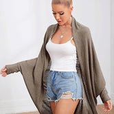 Mocha Brown Batwing Sleeve Waffle Knitted Cape Coat