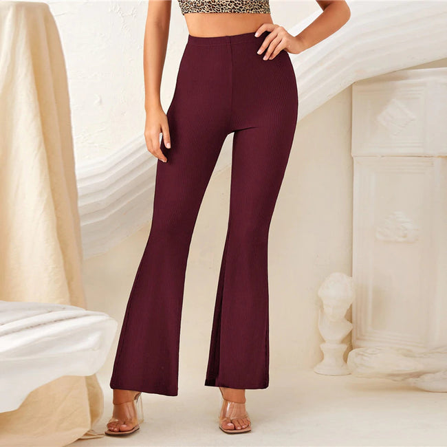 Maroon High Waist Rib-Knit Flare Leg Solid Pants