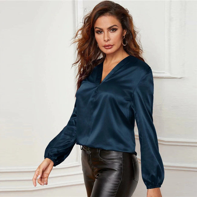 Navy Blue V-Neck Lantern Sleeve Satin Blouse
