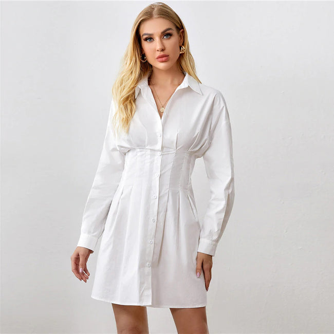 White Fold Pleat Detail Button Front Shirt Dress