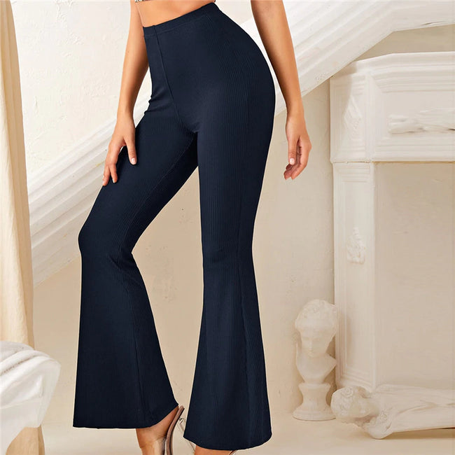 Navy Blue High Waist Rib-Knit Flare Leg Solid Pants