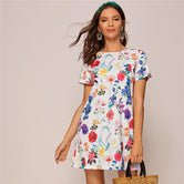 Keyhole Back Floral Print Mini Dress