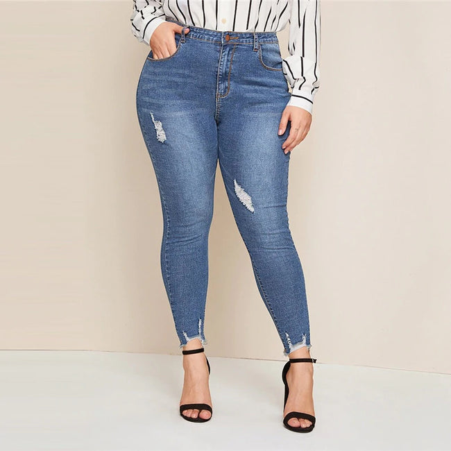 Plus Ripped Frayed Edge Skinny Jeans