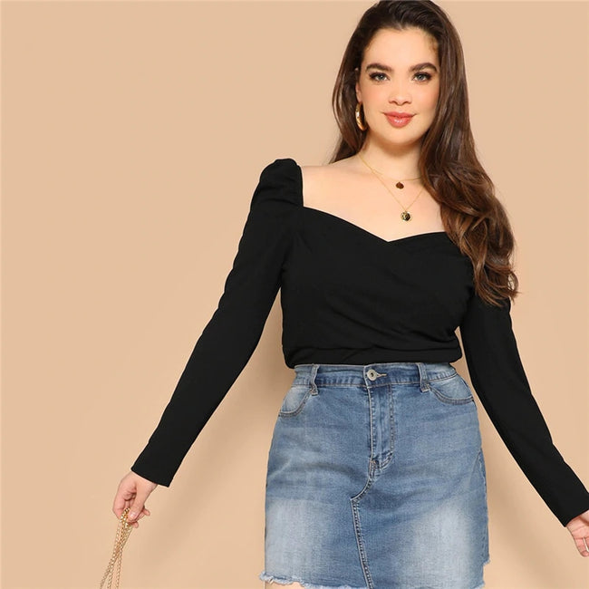 Plus Size Black Solid Sweetheart Top