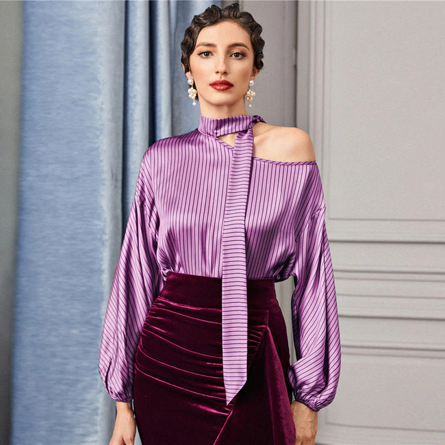 Purple Tie Neck Asymmetrical Shoulder Striped Top