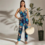 Surplice Neck Self Belted Tropical Cami Jumpsuit