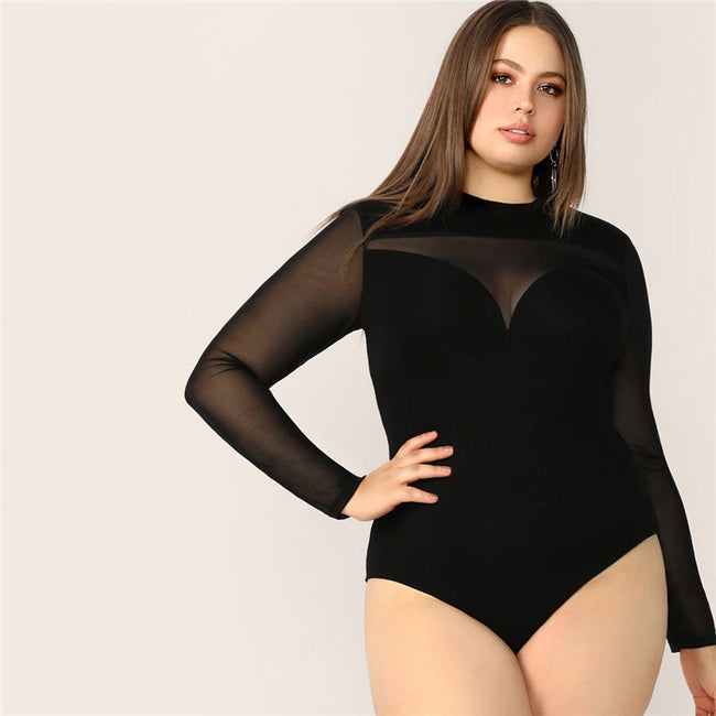 Black Sheer Yoke Keyhole Back Sweetheart Bodysuit