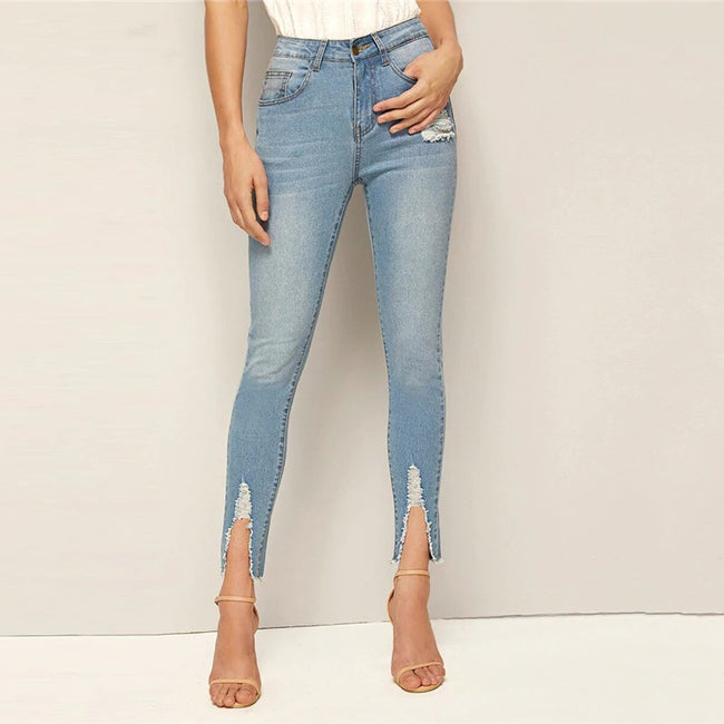 Blue Frayed Edge Faded Skinny Women's Jeans