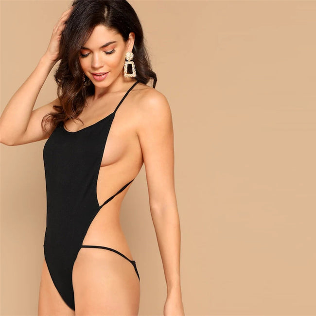 Black Criss Cross Backless Halter Skinny Sexy Bodysuit