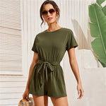 Army Green Self Belted Split Back Romper
