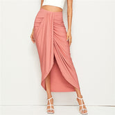 Pink High Waist Asymmetrical Draped Wrap Long Skirt