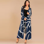 Navy Geo Print Button Front Longline Shirt And Pants Set