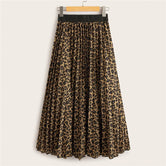 Cheetah Print Elastic Waist Pleated Skirt