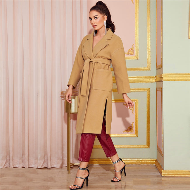 Camel Notched Collar Split Hem Belted Women's Coat