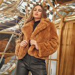 Brown Notch Collar Solid Faux Fur Coat