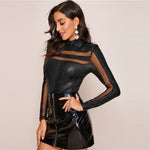 Black Mesh Insert Crocodile Embossed Fitted Women's Top