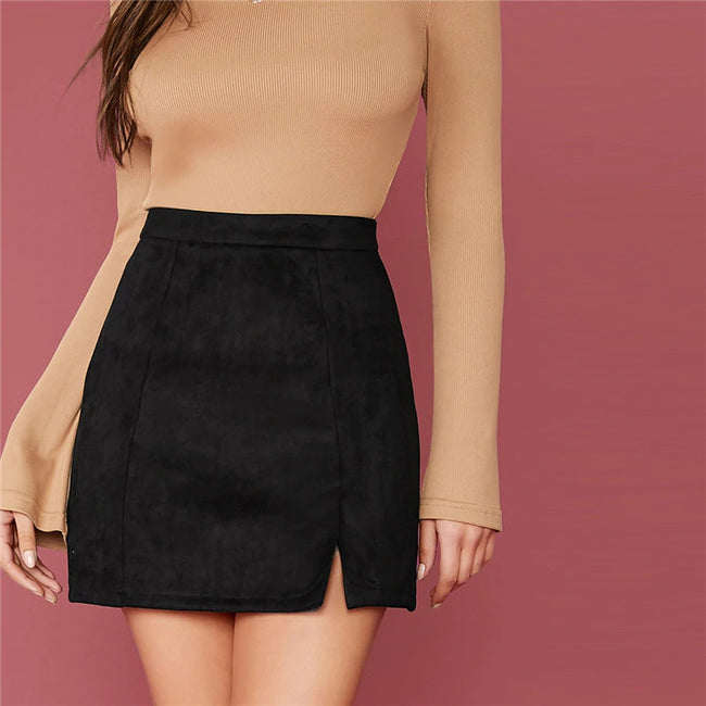 Black Zip Back Split Hem Suede Skirt