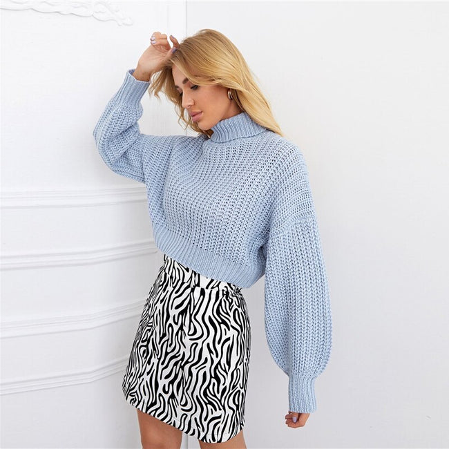 Baby Blue Turtleneck Lantern Sleeve Crop Sweater