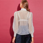Tie Neck Puff Sleeve Organza Women's Blouse