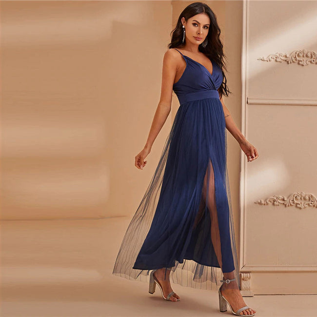 Navy Surplice Neck Split Thigh Mesh Overlay Maxi Dress