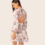 Surplice Neck Button Backless Ruffle Trim Flare Dress